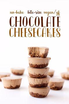 No Bake Vegan Bite Size Chocolate Cheesecakes #GlutenFree | So Much Yum