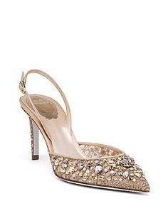 Rene Caovilla - Swarovski Crystal-Embellished Lace Slingbacks. Rene  CaovillaBridal ShoesBridal FootwearPump ShoesPumpsWomen s ... 826a5040d361