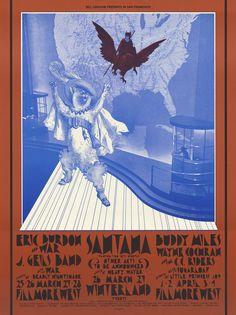 1971 Eric Burdon and War / Wayne Cochran & C.C. Riders / J. Geils Band / Buddy Miles / Santana / Sugarloaf at Fillmore. Art by David Singer.