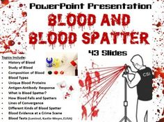 Forensic Science – Blood and Blood Spatter PowerPoint Presentation: Your purchase includes 43 PowerPoint slides, in both .ppt and . Forensic Psychology, Forensic Science, Science Fair, Science Lessons, Life Science, Science Projects, Dna Facts, Forensic Anthropology, Writing Jobs
