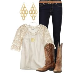 Another Great Choice for Mom.   Why it works: Skinny Jeans are going to slim the figure while the loose billowy top will hide any softness around the midline. The details to the shirt glam it up and feminize it. Cowgirl boots are ALWAYS a great choice and the chandelier earring finish it off perfectly.    White | Gold | Blue Jeans
