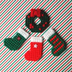"""Plastic Canvas: Holiday Home Mini Magnets (set of 3 Christmas stockings and wreath)  -- """"Ready, Set, Sew!"""" by Evie"""