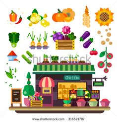 Farm shop: vegetables and fruits. Natural food, vegan lifestyle, count with food, autumn harvest. Vector flat illustration