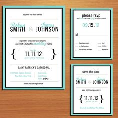 Typography Tiffany Blue Wedding Collection / Invitation / RSVP / Save the Date PRINTABLE / DIY. $32.00, via Etsy.