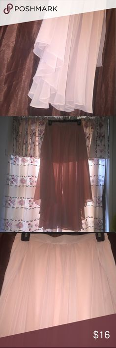 Forever 21 Blush Pink Maxi Skirt Blush pink chiffon maxi skirt with  a high and low design from the sides. Not fully lined and slits on both sides. Perfect for summer outings.  Like new and zipper on the back. Forever 21 Skirts Maxi