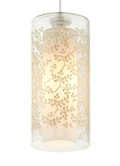 Modele Pendant Lighting – Ivory with a Floral Pattern by Tech Lighting | Part of our collection produced by EGIZIA, an Italian company known its incredible silk-screening techniques, three new patterns on hand-blown Italian glass are brought to life as light shines through a wide cylinder from an elegant inner glass diffuser. #modernlighting #homelighting #commerciallighting  #ledlighting  #kitchenlighting