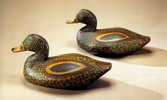Pair of teal drake decoys Upper Chesapeake Bay, Maryland, circa 1930 Private collection Decoy Carving, Duck Decoys, Shorebirds, Duck Hunting, Chesapeake Bay, Mantle, Ducks, Folk Art, Teal
