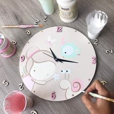Wall Clock Nursery, Nursery Art, Baby Painting, Painting For Kids, Baby Decor, Kids Decor, Cute Crafts, Diy Crafts For Kids, Creative Box