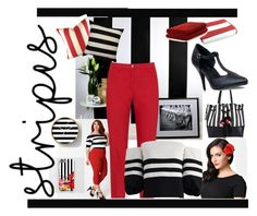 Stripes by marlaj-50 on Polyvore featuring Chicwish, KJ Brand, Hell Bunny, Loeffler Randall, Kate Spade, Normann Copenhagen, Luxor Linens and plus size clothing