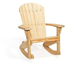 Relax on the front porch and watch the sunrise as you sip a fresh cup of coffee in the Wood Fan Back Rocking Chair. Handcrafted outdoor furniture from Amish cou Rocking Chair Bois, Amish Rocking Chairs, Rocking Chair Plans, Outdoor Rocking Chairs, Outdoor Lounge, Twig Furniture, Amish Furniture, Furniture Design, Outdoor Furniture
