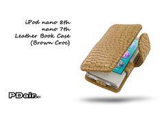 PDair iPod nano 8th / nano 7th Leather Book Case (Brown Croc)
