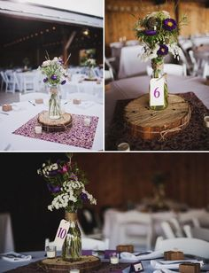 love the flower display with wood and a milk bottle type thing! #wedding #centerpiece
