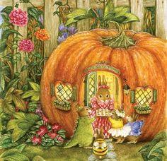 Susan Wheeler Holly Pond Hill Vintage Halloween Greeting Card - trick or treating bunnies at a little pumpkin house - adorable! Susan Wheeler, Lapin Art, Art Fantaisiste, Art Mignon, Poster Print, Halloween Greetings, Christmas Greetings, Dibujos Cute, Bunny Art