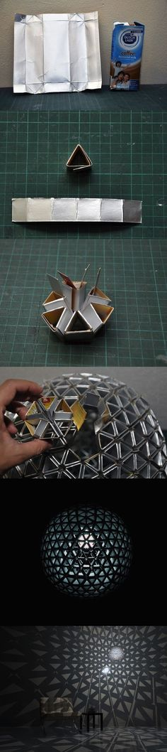 Funny pictures about Creating a lamp from Tetra Pak. Oh, and cool pics about Creating a lamp from Tetra Pak. Also, Creating a lamp from Tetra Pak photos. Tetra Pak, Diy And Crafts, Arts And Crafts, Paper Crafts, Diy Projects To Try, Craft Projects, Genius Ideas, Geometric Lamp, Recycling