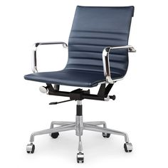 Top performer: the M347 Padded executive chair is ready to tackle the daily grind with a fine-grain comfy Italian leather seat and sleek polished aluminum frame