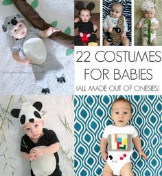 Homemade Halloween costumes for babies! All made out of onesies! Handmade Halloween Costumes, Cheap Halloween, Homemade Costumes, Homemade Halloween, First Halloween, Halloween Season, Scary Halloween, Halloween Crafts, Halloween Decorations