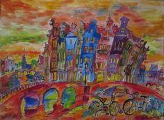 Prinsengracht, Amsterdam - acrylique sur toile - Elena Polyakova (1970-)