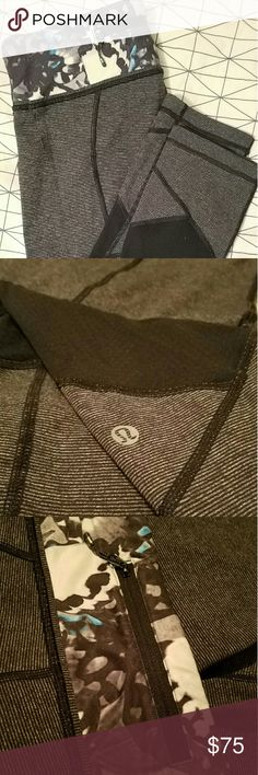 Lululemon Athletica Pace Rival Crop Gray and black stripe pace rival crop. Mesh cutout panels on back of calf.  Zipper at back. Size 8. Barely worn. Bought online, worn once, and they were falling off of me.  ????PRICE FIRM???? lululemon athletica Pants