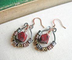 Jasper and Steel Wire Earrings Jasper by LittleMissHaywire on Etsy