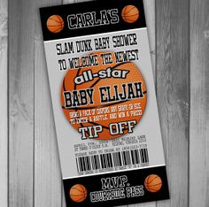San Antonio Spurs Inspired Basketball Baby Shower Invitation Coed Baby Shower Couples Baby Shower Sports Baby Shower Ticket Invitation