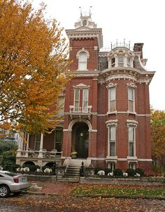 The Watkins F. Nisbet House, Evansville IN, built in1878.  One of my favorite styles of the period.  I esp love the lovely bay window on the 3rd floor, the high turret in the center, and the beautiful mansard roof decoration.  Architectural detail is marvelous!  Photo by Black.Doll, via Flickr.