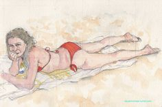 Vanishing memories of a past summer: she's looking at me in red bikini #watercolor