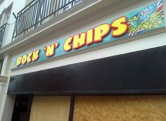 Rock n Chips sign graphics Rock N, Flat Screen, Broadway Shows, Chips, Graphics, Signs, Blood Plasma, Potato Chip, Graphic Design