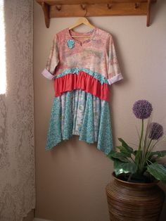 Peach and Teal Artsy Dress/ Upcycled T-Shirt by CycleOnStitches
