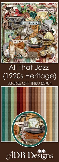 All That Jazz is the classic heritage scrapbooking collection to help you document your family story of the Roaring 20's. The Mega Page Kit features clothing, jewelry, musical instruments, and bonus antiques found in homes and offices during that era. The color palette is warm and earthy with splashes of teal and yellow. Perfect for photos of grandma in her flapper attire or for any vintage photos.  #ADBDesigns #digitalscrapbooking #AllThatJazz #MyMemories…