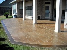 Concrete Miracles, Grand Ashlar stamp with Italian Slate border design for a back patio - All About Garden Concrete Patios, Concrete Fire Pits, Concrete Steps, Outdoor Landscaping, Outdoor Decor, Landscaping Ideas, Outdoor Patios, Outdoor Living, Diy Stamped Concrete