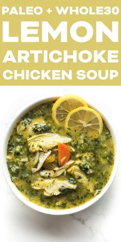Recipes Paleo Paleo + Lemon Artichoke Chicken Soup Recipe - Delicious and healthy lunch or dinner! Uses frozen vegetables to make this super simple. You have to try this gluten free, grain free, dairy free, sugar free, clean eating recipe tonight! Chicken Soup Recipes, Healthy Soup Recipes, Real Food Recipes, Cooking Recipes, Paleo Soup, Paleo Lunch Recipes, Whole Chicken Soup, Whole 30 Soup, Chicken Soups