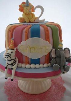 color stripes zoo animals cake