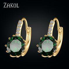 ZAKOL Noble Diseño Chapado En Oro Rhinestone Joyería de Moda de la Forma Redonda de Moda Pendientes Del Aro Para Las Mujeres Aniversario FSEP333