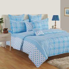 Buy Blue Fashion Fiesta Zinnia Bed in a Bag Set online in India: WoodenStreet#bedsheetset #bedfittedsheets #beddingsetsonline #cottonbeddingsets #acbeddingsets #summerbeddingsets New Trend Dress, Wooden Street, Bed Curtains, Cotton Bedding Sets, Bedding Sets Online, Bed In A Bag, Amazing Spaces, Patterned Carpet, Mosaic Designs