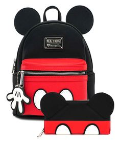 online shopping for Loungefly Disney Mickey Mouse Mini Backpack Wallet Set (Black/Red) from top store. See new offer for Loungefly Disney Mickey Mouse Mini Backpack Wallet Set (Black/Red) Mochila Mickey Mouse, Mickey Mouse Backpack, Disney Tote Bags, Disney Handbags, Disney Merch, Disney Mickey, Mochila Victoria Secret, Cute Disney Outfits, Waterproof Laptop Backpack
