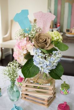 Gender Reveal baby shower centerpiece!  See more party ideas at http://CatchMyParty.com! #partydecorations