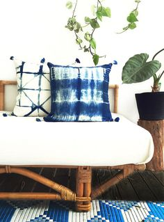 EBB & FLOW CUSHION COVER - Linen Cushion Cover With Handmade Dip Dyed Tassels – Hand Dyed – Natural Organic Indigo By Kate Warren - Stolen Heart Design ____________________________  Each cushion cover is handmade in my home studio on the Sunshine Coast Queensland, Australia.  The cushion cover is made of 100% Linen and dyed using natural organic Indigo. I fold, resist and bind using the Japanese art form of shibori to create one of a kind pieces, they are then hand dye in my natural organ...