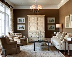 Extraordinary Ideas For Painting Living Room Catchy Living Room Design Trend 2017 with Small Living Room Paint Color Ideas – Interior Design Room Design, Living Room Paint, Home, Brown Walls, Paint Colors For Living Room, Traditional Design Living Room, Room Colors, Brown Living Room, Home And Living