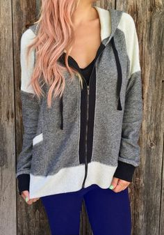 Stylish Hooded Long Sleeve Color Block Zip Up Hoodie For Women