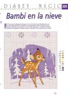 Bambi in spanish cross stitch instructions. Just Cross Stitch, Cross Stitch Baby, Cross Stitch Charts, Bambi, Disney Magic, Cross Stitching, Cross Stitch Embroidery, Disney Stich, Stitch Character