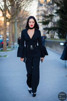 bell sleeved jumpsuit with edgy belt
