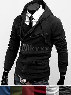 Sweat modeste bordeaux à la mode en mélange de coton et col à revers -  Milanoo. Mode HommeVeste ... df30c73fcad