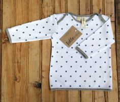 Organic Cotton Long Sleeve Top  Blue Spots on White door fablebaby, $49.00
