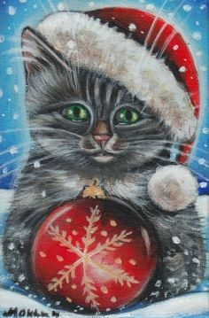 Risultati immagini per cat christmas painting Xmas Drawing, Christmas Drawing, Christmas Paintings, Christmas Animals, Christmas Pictures, Christmas Snowman, Grey Tabby Kittens, Cats And Kittens, Hello Kitty Christmas