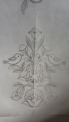 Border Embroidery Designs, Embroidery Suits Design, Bird Embroidery, Hand Embroidery Patterns, Embroidery Stitches, Saree Painting Designs, Hand Work Design, Pencil Design, Free Hand Drawing