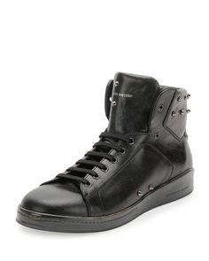 Elgar Studded High-Top Sneaker, Black by Alexander McQueen at Bergdorf Goodman.