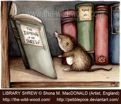 LIBRARY SHREW © Shona M. MacDONALD (Artist. England). This little mouse-sized mole with his tiny little pince-nez reading Shakespeare's Taming of the Shrew has to be the cutest thing ever. Totally charming! -pfb ...   http://www.the-wild-wood.com/