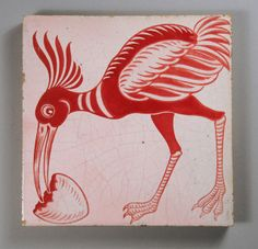 ¤ William De Morgan - Ostrich and Egg Red lustre tile produced in the Merton Abbey period, Fresh Chicken, Chicken Eggs, Farm Chicken, Types Of Eggs, Art Nouveau Tiles, Persian Pattern, Unique Tile, English Pottery, Arts And Crafts Movement