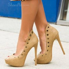 Shoespie Cut outs Peep-toe Platform Heels