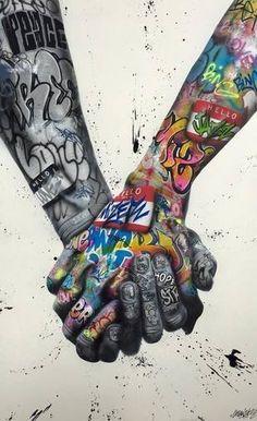 Peace and Love par Onemizer, 2018 Street Art Banksy, Graffiti Art, Kobra Street Art, Graffiti Painting, Murals Street Art, Graffiti Prints, Painting Canvas, Street Art Love, Urban Street Art